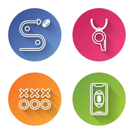 Set line Planning strategy concept, Whistle, Planning strategy concept and Smartphone with american football ball on the screen. Color circle button. Vector Foto de archivo - 135441505