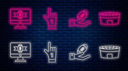 Establecer la línea número 1 un guante de mano de ventilador con el dedo levantado, pelota de fútbol americano en la mano, fútbol americano en el programa de televisión y estadio de fútbol. Icono de neón brillante en la pared de ladrillo. Vector