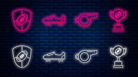 Set line Soccer or football shoes with spikes, Whistle, American Football ball and shield and Award cup and American football ball. Glowing neon icon on brick wall. Vector Foto de archivo - 135441450