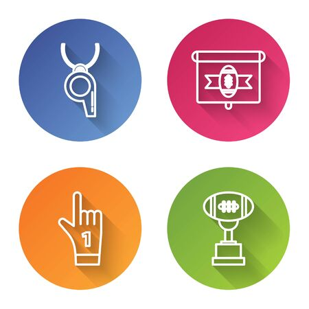 Set line Whistle, American football on tv program, Number 1 one fan hand glove with finger raised and Award cup and American football ball. Color circle button. Vector Foto de archivo - 135441778