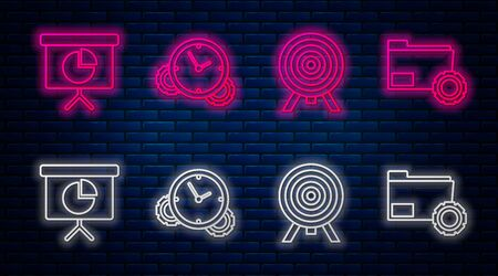 Set line Time Management, Target, Presentation financial board with graph, schedule, chart, diagram, infographic, pie graph and Folder settings with gears. Glowing neon icon on brick wall. Vector
