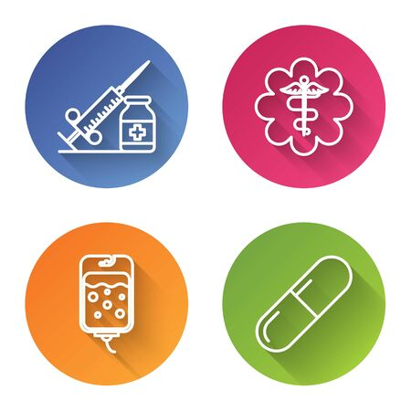 Set line Medical syringe with needle and vial or ampoule, Emergency star medical symbol Caduceus snake with stick, IV bag and Medicine pill or tablet. Color circle button. Vector