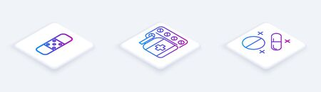 Set Isometric line Bandage plaster, Medicine bottle and pills and Medicine pill or tablet. White square button. Vector Ilustrace
