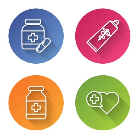 Set line Medicine bottle and pills, Ointment cream tube medicine, Medicine bottle and Heart with a cross. Color circle button. Vector Ilustrace