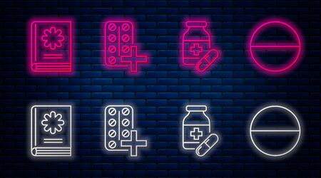 Set line Pills in blister pack, Medicine bottle and pills, Medical book and Medicine pill or tablet. Glowing neon icon on brick wall. Vector