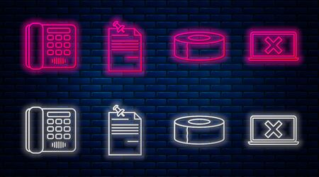 Set line Note paper with pinned pushbutton, Scotch, Telephone and Laptop and cross mark on screen. Glowing neon icon on brick wall. Vector Ilustrace