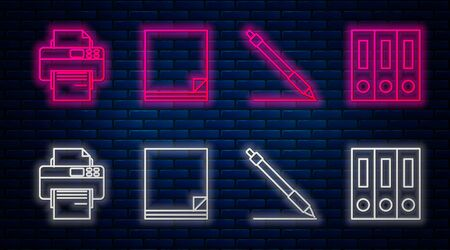 Set line File document, Pen line, Printer and Office folders with papers and documents. Glowing neon icon on brick wall. Vector