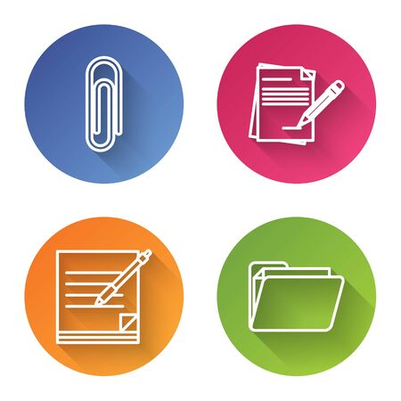 Set line Paper clip, Blank notebook and pencil with eraser, Blank notebook and pen and Document folder. Color circle button. Vector
