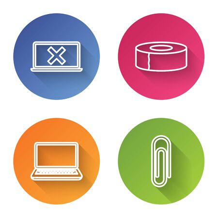 Set line Laptop and cross mark on screen, Scotch, Laptop and Paper clip. Color circle button. Vector