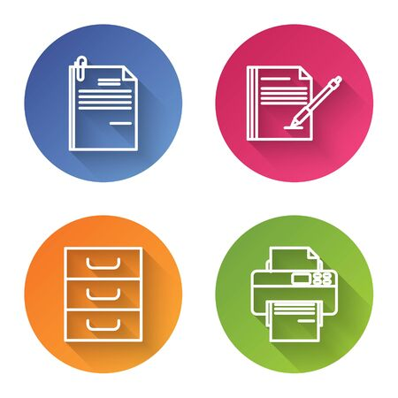 Set line File document and paper clip, Blank notebook and pen, Drawer with documents and Printer. Color circle button. Vector