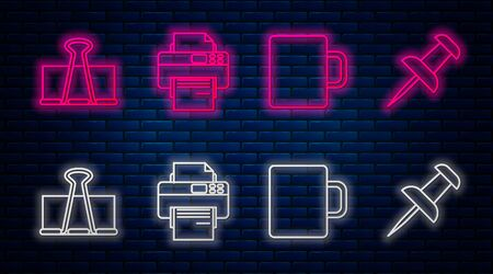 Set line Printer, Coffee cup, Binder clip and Push pin. Glowing neon icon on brick wall. Vector