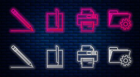 Set line File document, Printer, Pencil with eraser and line and Folder settings with gears. Glowing neon icon on brick wall. Vector