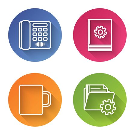 Set line Telephone, User manual, Coffee cup and Folder settings with gears. Color circle button. Vector