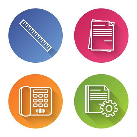 Set line Ruler, File document, Telephone and Document settings with gears. Color circle button. Vector
