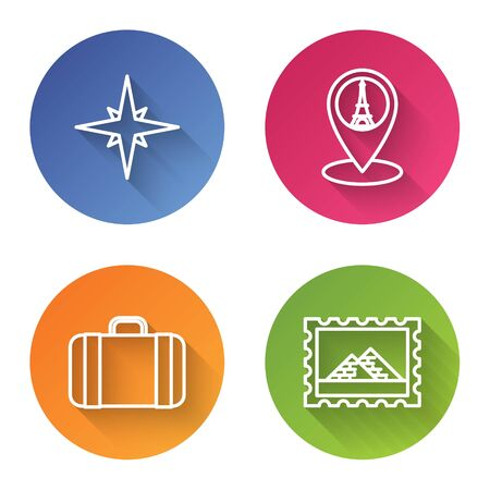 Set line Wind rose, Map pointer with Eiffel tower, Suitcase for travel and Postal stamp and Egypt pyramids. Color circle button. Vector