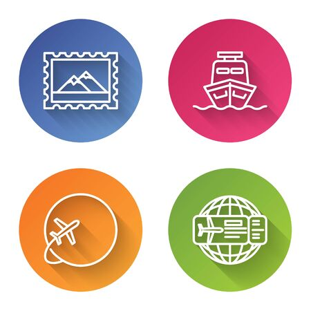 Set line Postal stamp and Mountains, Ship, Globe with flying plane and Airline ticket. Color circle button. Vector
