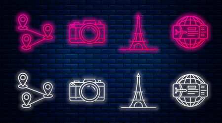 Set line Photo camera, Eiffel tower, Route location and Airline ticket. Glowing neon icon on brick wall. Vector