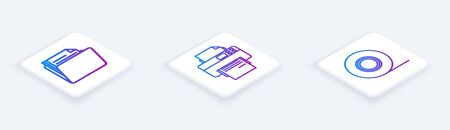 Set Isometric line Document folder, Printer and Scotch. White square button. Vector Ilustrace
