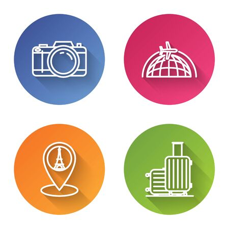 Set line Photo camera, Globe with flying plane, Map pointer with Eiffel tower and Suitcase for travel. Color circle button. Vector Ilustrace