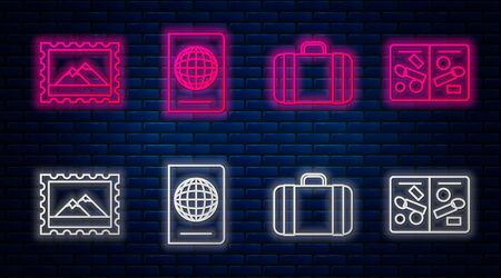 Set line Passport with biometric data, Suitcase for travel, Postal stamp and Mountains and Passport pages with visa stamps. Glowing neon icon on brick wall. Vector