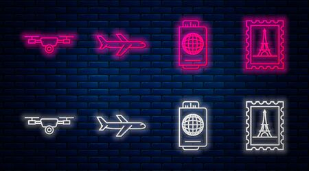 Set line Plane, Passport with ticket, Drone flying with action video camera and Postal stamp and Eiffel tower. Glowing neon icon on brick wall. Vector Illustration