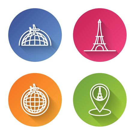 Set line Globe with flying plane, Eiffel tower, Globe with flying plane and Map pointer with Eiffel tower. Color circle button. Vector