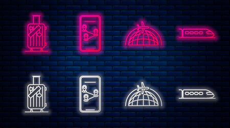 Set line Infographic of city map navigation, Globe with flying plane, Suitcase for travel and stickers and Train. Glowing neon icon on brick wall. Vector