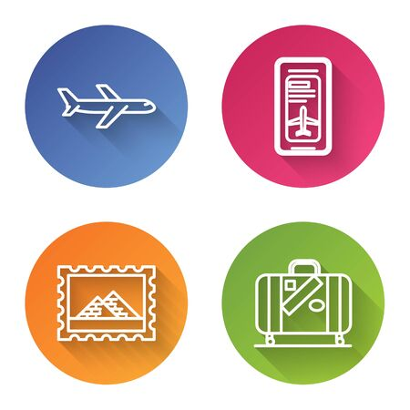 Set line Plane, Smartphone with electronic boarding pass airline ticket, Postal stamp and Egypt pyramids and Suitcase for travel and stickers. Color circle button. Vector Ilustrace