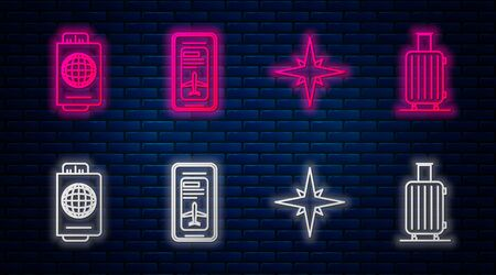 Set line Smartphone with electronic boarding pass airline ticket, Wind rose, Passport with ticket and Suitcase for travel. Glowing neon icon on brick wall. Vector Illusztráció
