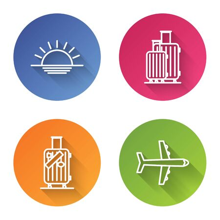 Set line Sunset, Suitcase for travel, Suitcase for travel and stickers and Plane. Color circle button. Vector
