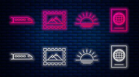 Set line Postal stamp and Mountains, Sunset, Train and Passport with biometric data. Glowing neon icon on brick wall. Vector