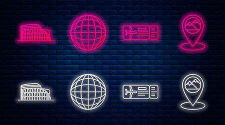 Set line Earth globe, Airline ticket, Coliseum in Rome, Italy and Map pointer with mountain. Glowing neon icon on brick wall. Vector