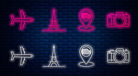 Set line Eiffel tower, Map pointer with Coliseum in Rome, Italy, Plane and Photo camera. Glowing neon icon on brick wall. Vector Ilustrace
