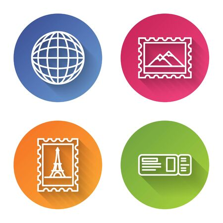 Set line Earth globe, Postal stamp and Mountains, Postal stamp and Eiffel tower and Travel ticket. Color circle button. Vector