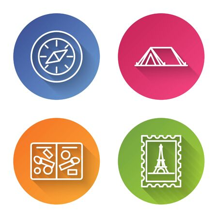 Set line Compass, Tourist tent, Passport pages with visa stamps and Postal stamp and Eiffel tower. Color circle button. Vector Illustration