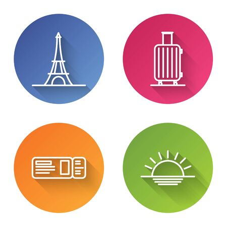 Set line Eiffel tower, Suitcase for travel, Travel ticket and Sunset. Color circle button. Vector