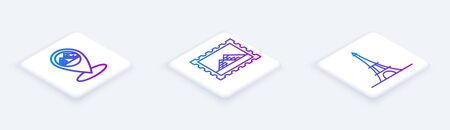 Set Isometric line Map pointer with Egypt pyramids, Postal stamp and Egypt pyramids and Eiffel tower. White square button. Vector Ilustrace