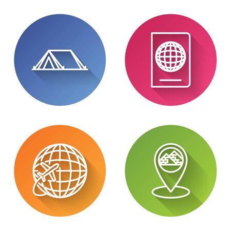 Set line Tourist tent, Passport with biometric data, Globe with flying plane and Map pointer with Egypt pyramids. Color circle button. Vector