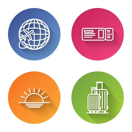 Set line Globe with flying plane, Travel ticket, Sunset and Suitcase for travel. Color circle button. Vector
