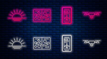 Set line Passport pages with visa stamps, Smartphone with electronic boarding pass airline ticket, Sunset and Drone flying with action video camera. Glowing neon icon on brick wall. Vector