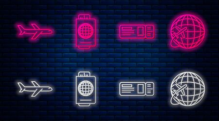 Set line Passport with ticket, Travel ticket, Plane and Globe with flying plane. Glowing neon icon on brick wall. Vector Illusztráció