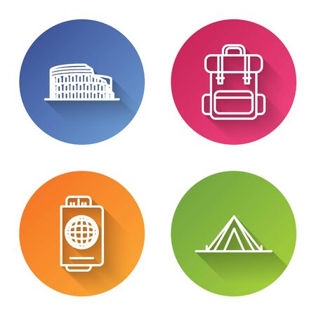 Set line Coliseum in Rome, Italy, Hiking backpack, Passport with ticket and Tourist tent. Color circle button. Vector