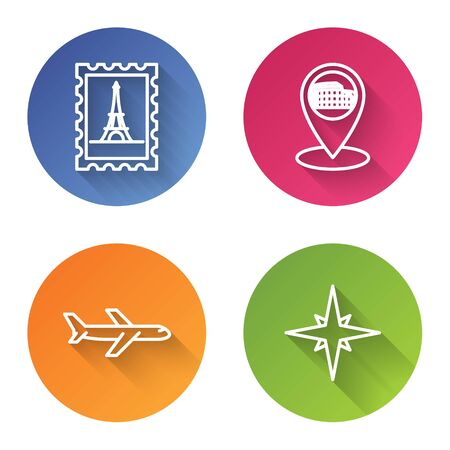 Set line Postal stamp and Eiffel tower, Map pointer with Coliseum in Rome, Italy, Plane and Wind rose. Color circle button. Vector