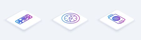 Set Isometric line Airline ticket, Compass and Passport with ticket. White square button. Vector