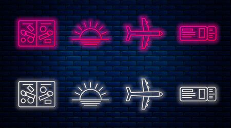 Set line Sunset, Plane, Passport pages with visa stamps and Travel ticket. Glowing neon icon on brick wall. Vector Ilustrace