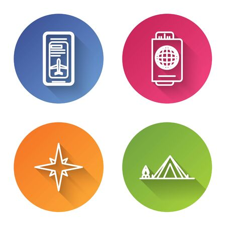 Set line Smartphone with electronic boarding pass airline ticket, Passport with ticket, Wind rose and Tourist tent with wood fire. Color circle button. Vector Ilustrace