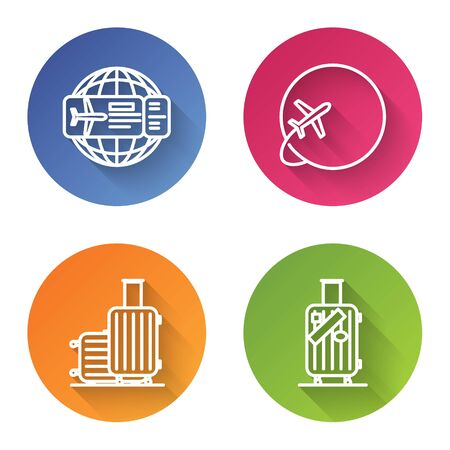 Set line Airline ticket, Globe with flying plane, Suitcase for travel and Suitcase for travel and stickers. Color circle button. Vector