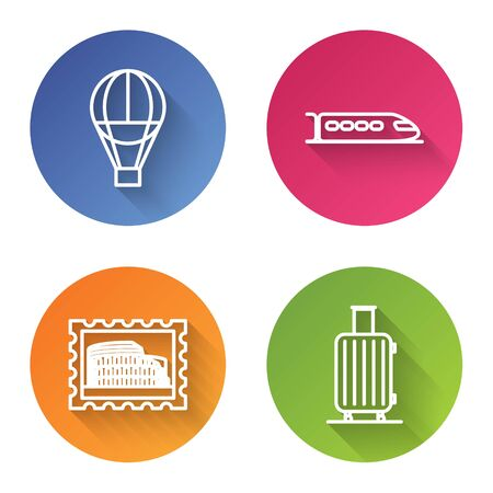 Set line Hot air balloon, Train, Postal stamp and Coliseum and Suitcase for travel. Color circle button. Vector Ilustração