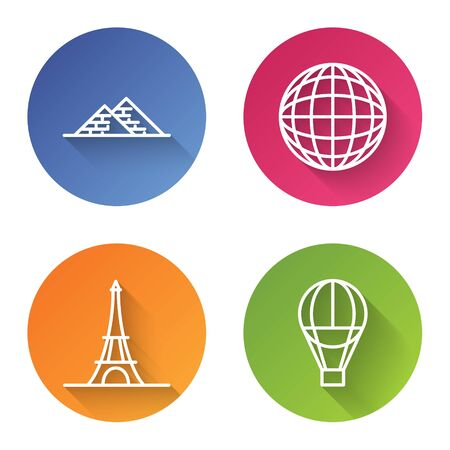 Set line Egypt pyramids, Earth globe, Eiffel tower and Hot air balloon. Color circle button. Vector Ilustrace
