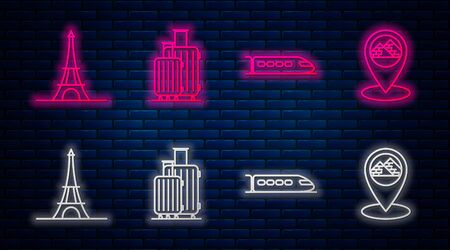 Set line Suitcase for travel, Train, Eiffel tower and Map pointer with Egypt pyramids. Glowing neon icon on brick wall. Vector Ilustrace